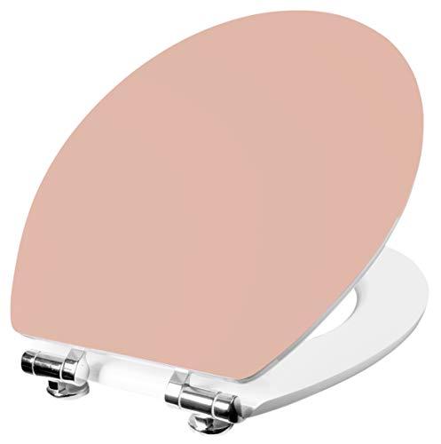 Cornat WC-Sitz Vorea - Schlichter Look in rosé - Hochwertiger Holzkern - Absenkautomatik - Komfortables Sitzgefühl - Unifarbenes Design / Toilettensitz / Klodeckel / KSVOSC93