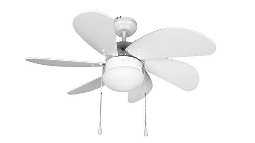 Orbegozo CP 15076 B – Ventilador de techo con luz, 6 palas, 80 cm de diámetro, potencia de 50 W y 3 velocidades