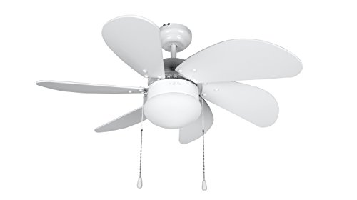 Orbegozo CP 15076 B - Ventilador de techo con luz, 6 aspas de madera, silencioso, 3 velocidades de ventilación...