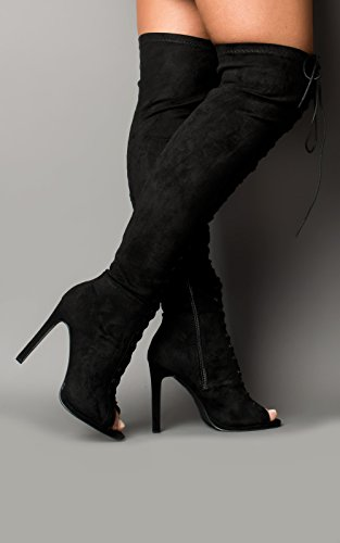 Women's Ladies Stunning Faux Suede Lace Up High Heeled Boots Black