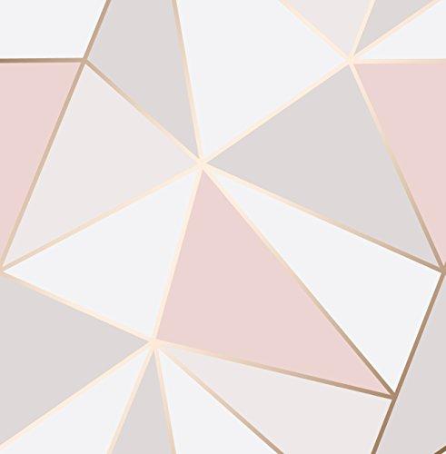 Carta Da Parati Geometrica.Fine Decor Rosa Tenue Carta Da Parati Geometrica Di Apice Oro Rosa