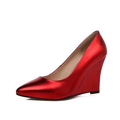 LvYuan-ggx Da donna Tacchi Nappa Pelle Primavera Oro Argento Rosso Piatto ruby