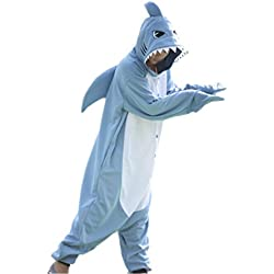 wotogold Pijamas de Tiburón Animal Trajes de Cosplay Adultos Unisex Light Blue