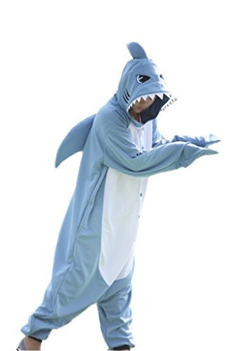 Shark Pyjamas Cosplay Kostüme X-Large Hellblau ()