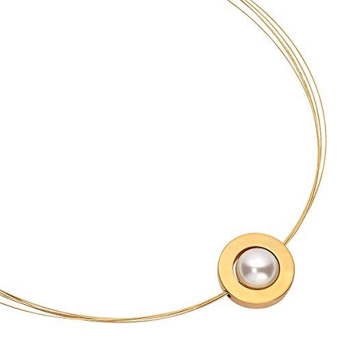 Heideman Halskette Damen Saturn aus Edelstahl Gold farbend matt Kette für Frauen mit Swarovski Perle Weiss rund 14mm