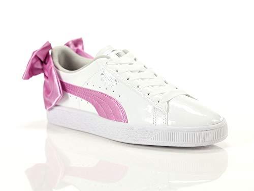 Puma Sneakers Basket Bow Patent JR Bianco Rosa 367621-02 (36 - Bianco)
