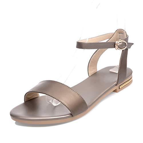 Frauen Flache Sandalen knöchelriemen Sommer lässige Strand Lederschuhe Damen niedrigen Square Ferse offene zehenpumpen Patent Leather Cork Wedge Sandal