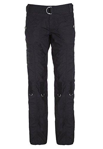 SUBLEVEL Damen Cargohose in schwarz und weiß   Leichte Frauen Trekkinghose kurz/lang verstellbar black L