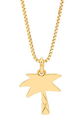 Malaika Raiss Halskette Damen Gold Palme - Charm Plättchen Anhänger Palm Tree - 24 Karat Vergoldet Hochglanz - N3197