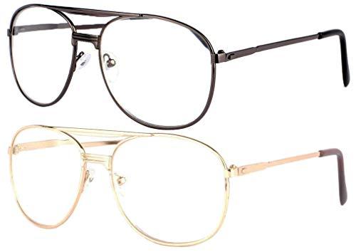 Set mit 2 großen Brillen und Lupe, modisch, Metall, Federscharniere, Vysia