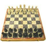 Carved Soapstone 10 In. Chess Set Carved...
