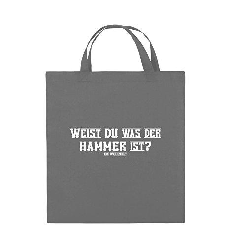 Comedy Bags - WEIST DU WAS DER HAMMER IST? - Jutebeutel - kurze Henkel - 38x42cm - Farbe: Schwarz / Pink Dunkelgrau / Weiss