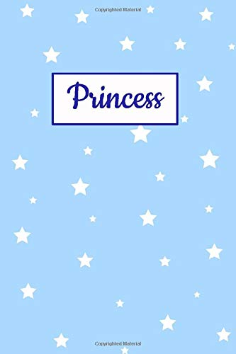 Princess: Personalized Name Journal. Wide Ruled (Lined) Writing Diary, Composition Book. Baby Blue Star Cover for Girls, Kids and Teens