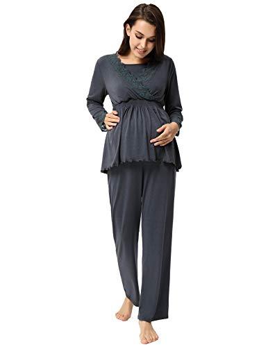 Camicia da Notte Elegante Due Pezzi per Donna Incinta Maternità Manica Lunga Autunno XL Grigio