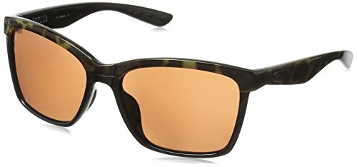 Costa del Mar Women's Anaa Polarized Cateye Sunglasses, Oive Tortoise on Black, 55.4 mm