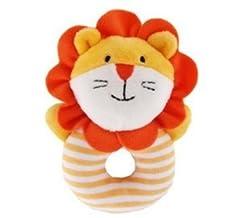 Idea Regalo - Isuper - Peluche animati, in felpa, con sonagli, forma ad anello carina, motivo leone, regalo per neonati, arancione