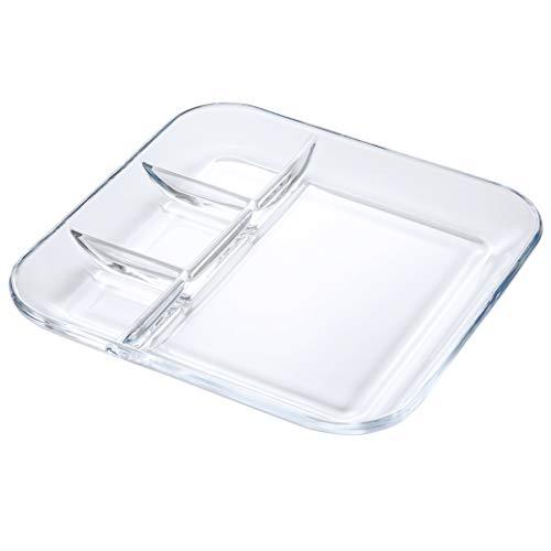 foyo gehärtetem Glas geteilter transparent Salat Teller/Platte , 25,4cm Mittagessen/Abendessen Dish für zwischen Saucen/Marmelade/Seite und Lebensmittel-Gesundes Lifestyle Geschirr - Mikrowelle Glas 10 Zoll