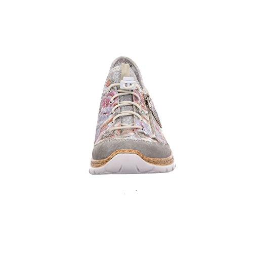 Rieker N42v1, Sneaker De Filetage Multicolore Pour Femmes (ciment / Weiss-multi / Silver / Silverflower)