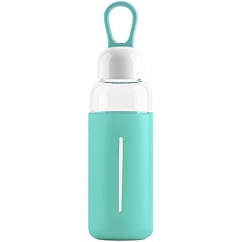 Botella de Agua de Cristal Portable Libre de BPA 420ml (cyan)