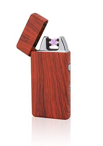 TESLA Lighter T05 Lichtbogen Feuerzeug, Plasma Double-Arc, elektronisch wiederaufladbar, aufladbar mit Strom per USB, ohne Gas und Benzin, mit Ladekabel, in Edler Geschenkverpackung, Rot Holzoptik