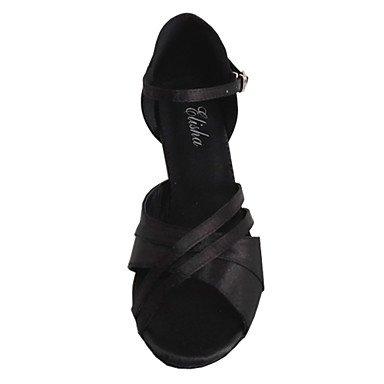 Do sapatos Combinado Senhoras cetim Xiamuo Pretas Salto Latino Dança Personalizáveis De fzUTqqxaw
