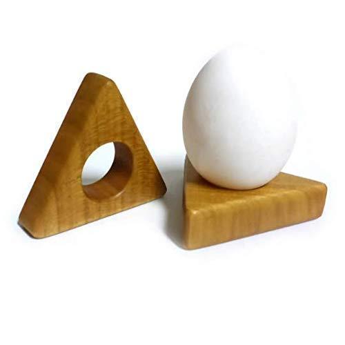 Eierbecher/Serviettenring aus Kirsch-Holz, dreieckig -
