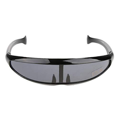IPOTCH Futuristische Schmale Kyclops Brille Sonnenbrille Partybrille Spaßbrille Zensurbrille - 06