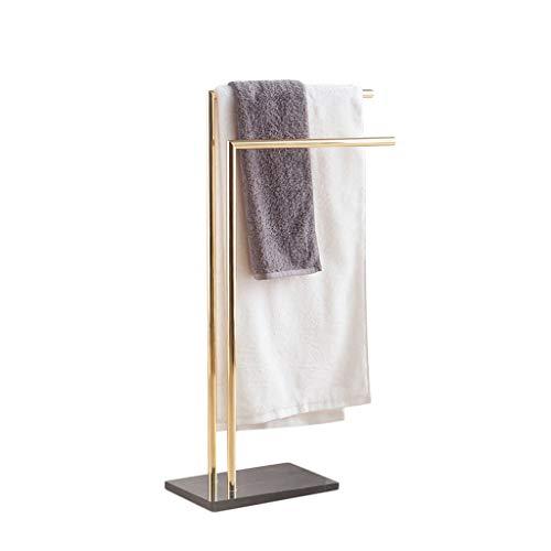 LAAN Handtuchhalter Stand - Doppelstock Badezimmer Rack - Stand Bad Handtuchhalter, Kleidung Wäscheständer, Edelstahl + Natur Marmor, Gold (größe : 33×22×90cm(L×W×H)) -
