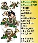 Designstudio Fritsche Wild Jagd Jagdhorn mit Hund Aufkleber 2 im Set -