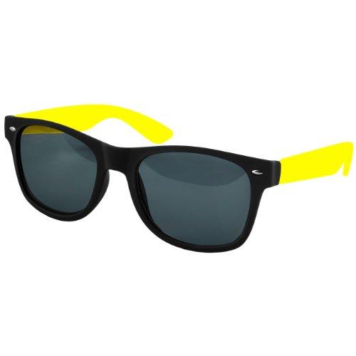 CASPAR Unisex Wayfarer Nerd Sonnenbrille / Brille MATT mit farbigen Bügeln und Federscharnier - PREMIUM QUALITÄT - viele Farben - SG008, Farbe:neon gelb