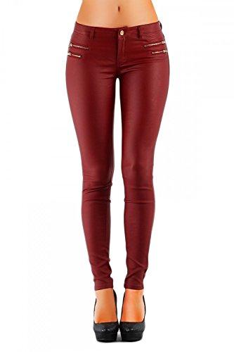 Damen Jeans Hose Hüfthose Lederimitat Kunstlederhose Skinny (No:323), Grösse:36, Farbe:Bordeaux