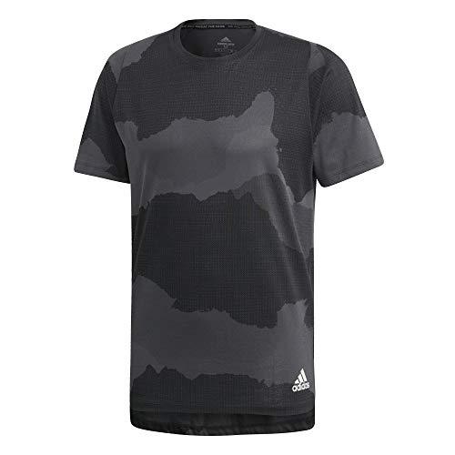 adidas Freelift_Tech Camo Graphic Tee T-Shirt, Herren L Grau/Schwarz (Grey six/Black)