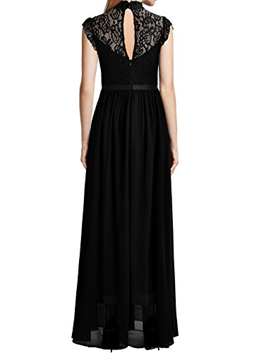 Miusol Damen Elegant Spitzen Abendkleid Brautjungfer Cocktailkleid Chiffon Faltenrock Langes Kleid Schwarz Gr.M -