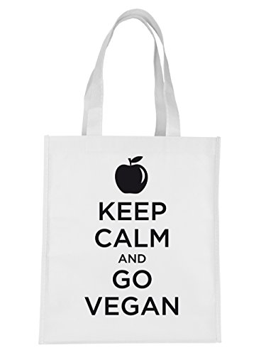 clothinx Einkaufstasche Keep Calm and go Vegan Weiss mit schwarzem Aufdruck