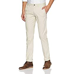 Arrow Sports Men's Relaxed Fit Casual Trousers (ARGT1707_Off-White_32W x 34L)