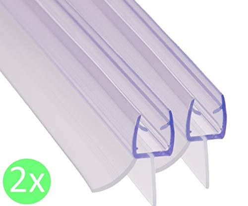REDICHT 2x 100cm Duschdichtung transparent | für Glasstärke 6mm 7mm 8mm | Ersatzdichtung Dusche | Duschkabinen Dichtung | UV- und Schimmelbeständig (Für Glastüren Badewanne Duschen)