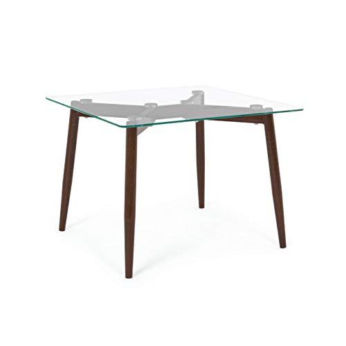ARREDinITALY Table carré Design Pieds Acier Effet Noyer 60 x 60