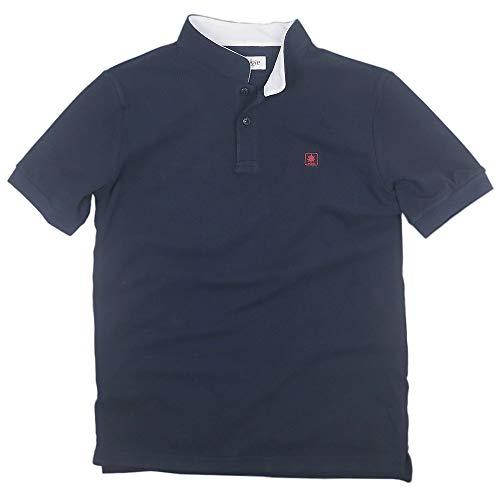 Sinologie Polo piqué à col Mao en Coton Bleu Marine (L)