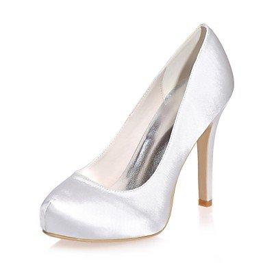 Wuyulunbi @ Chaussures Femme Satin Printemps Été Pompe Chaussures De Base De Mariage Talon Aiguille Ronde Pour La Fête De Mariage Et Soirée Violet Bleu Argent Blanc