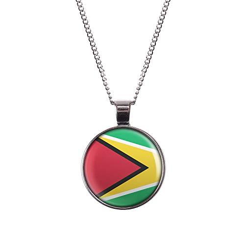 t Motiv Guyana Georgetown Flagge silber 28mm ()