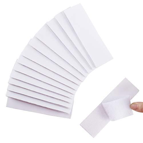 Nahuaa 16 Pcs Industrie Klettband Selbstklebend Stark Klettverschluss Weiß Flauschband Rolle Doppelseitig Klebende für Spiegel Wände Boden Tür Gläser Metalle 30x100mm