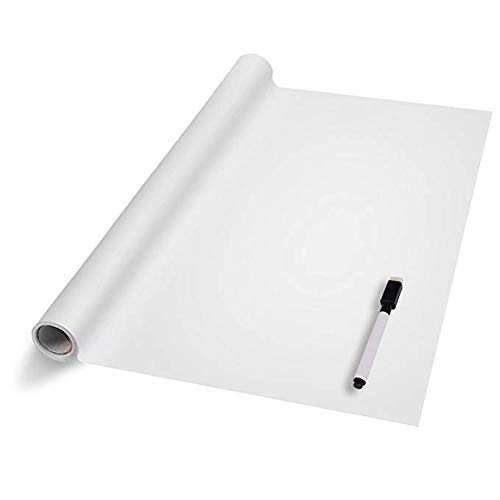 Vinilo Pizarra Adhesivo Reutilizable Lámina de Pizarra Negra/Blanco Pegatinas de Pizarra Impermeable para Escribir y Borrar (Incluye 5 tizas o Rotulador) 45 x 110cm/45 x 200cm (Blanco, 45 x 200cm)