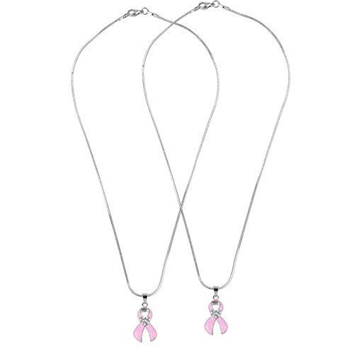 LUX Zubehör passende Pavé Herz Schleife Brustkrebs Bewusstsein Rosa Best Friends Forever BFF Halskette Set (2PC). (Passend Schleife)