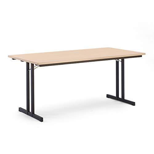 Certeo Klapptisch | HxBxT - 720 x 1800 x 800 mm | Extra starke rechteckige Platte | Gestell schwarz - Platte Buche-Dekor | Klapptisch Mehrzwecktisch Konferenztisch