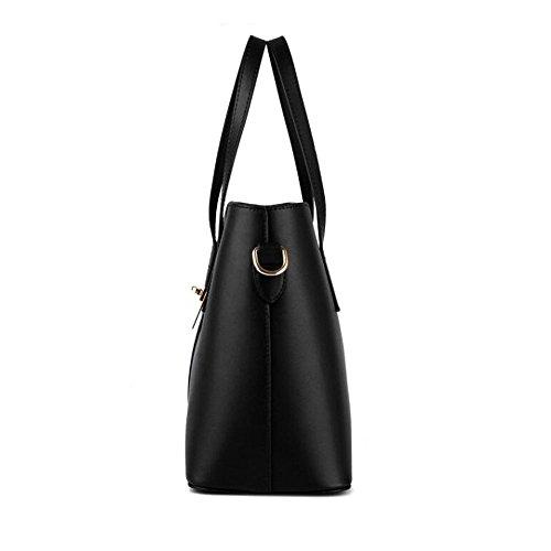 Toopot Sacchetto di cuoio del sacchetto di cuoio dell'unità di elaborazione delle donne di modo + sacchetto di spalla + borsa + 3pcs Blu scuro