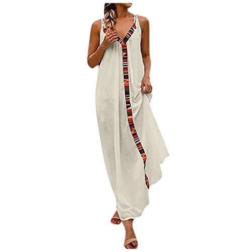 BHYDRY Langes Strandkleid aus ärmelloser Baumwolle mit V-Ausschnitt und Streifen in Reiner Farbe (Medium,Weiß)