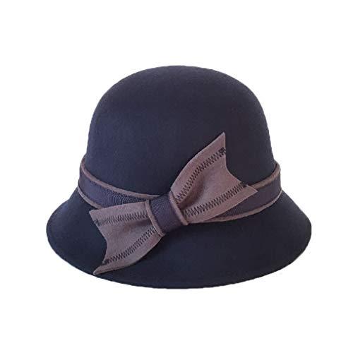 GOUNURE Damen Woolen Curl Birm Cloche Eimer Hut Damen Floppy Elegant Fedora Hats Dome Cap Bowler Caps mit Schleife -