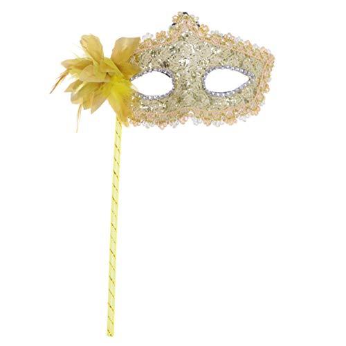 Amosfun Maskerade Maske mit Stick Feder Spitze venezianische Maske Karneval Maske Halloween kostüm Party Ball kostüm Maske (golden) (Mit Einem Ball Kostüm)