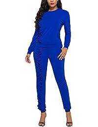 Felpe Donna E Pantaloni Tuta Due Pezzi Autunno Invernali Eleganti  Sweatshirts Maniche Lunghe Jumper Rotondo Collo Camicetta Casuale Donne… b0c0a12545c