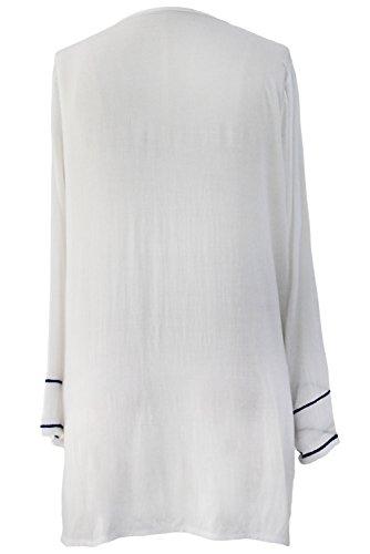 Mesdames Bohémien Chic Boho Broderie Couvrir Tenue de plage Mini Robe blanc-2